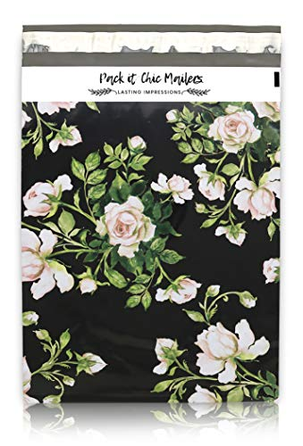"Mailing Poly Bags - Pack It Chic - 10"" X 13"" (100 Pack) Vintage Floral Poly Mailer Envelope Plastic Custom Mailing & Shipping Bags - Self Seal (More Designs Available)"