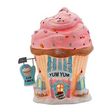 Department 56 North Pole Series Village Yum Yum Cupcakes Lit House, 5-1/2-Inch