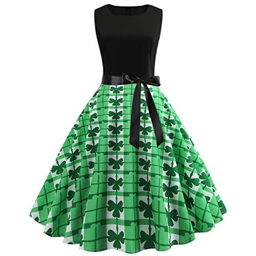 Landfox Dress for Women, Temperament Shamrock Gown Women Sleeveless Evening Party Prom Swing Dress Green -