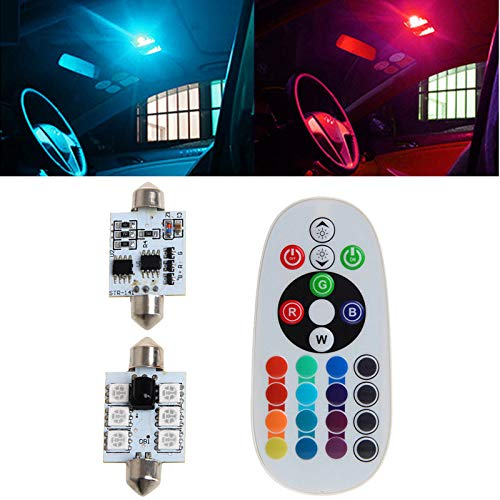 Topsame 2Pcs/Set 41mm Festoon 5050 6LED RGB LED Car Interior Dome Map Reading Light Bulb Colorful Atmosphere Lamp With Remote Control