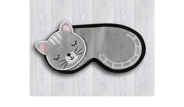 Eye Pillow Gray Cat Mask Cat Lover Gift Pajama Party Favor Gray Sleep Mask Floral Sleepwear Travel Accessories Floral Sleeping Mask