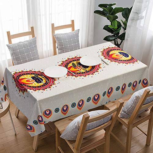"""UniTendo Bohemia Mediterranean Style Tablecloths/Table Cloth Retro Colorful Floral Table Cover for Dining Table,Furniture Cover for Home Decor,55""""x86"""",Candle Light White and Yellow."""