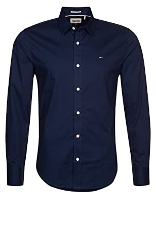 e07cc4d4 Mens Tommy Hilfiger Shirt Slim Fit Long Sleeved Sizes S M L XL XXL (Large,  Navy