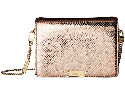 MICHAEL MICHAEL KORS Jade Metallic Embossed Medium Leather Gusset Clutch, Soft Pink by Michael Kors