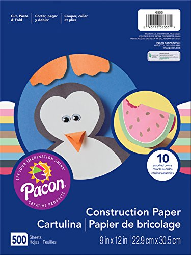 Pacon Lightweight Construction Paper, 9-Inches by 12-Inches, Assorted Colors, 500 Count (6555)>