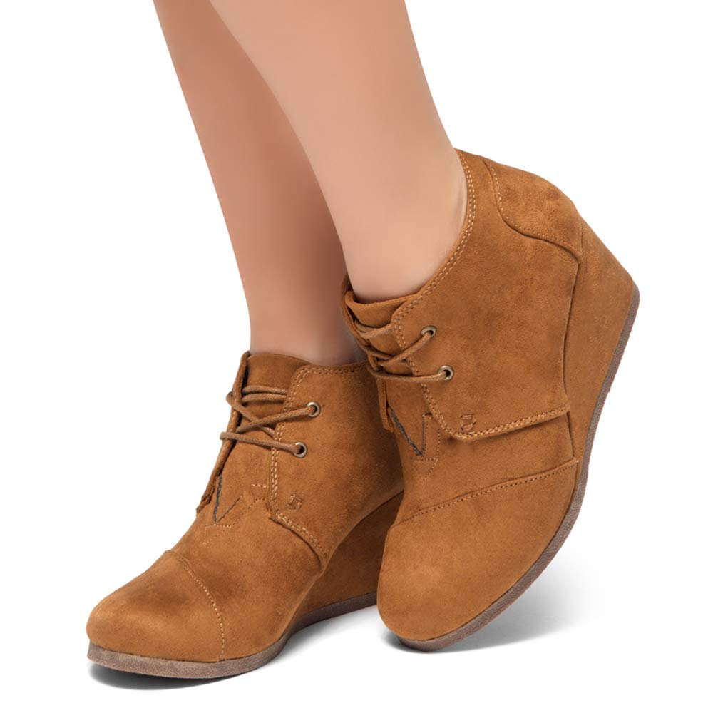 Herstyle Corlina Womens Fashion Casual Outdoor Low Wedge Heel Booties Shoes Lace up Close Toe Ankle Boots