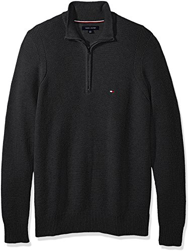 Tommy Hilfiger Men's Big and Tall 1/4 Zip Pullover Sweater, Charcoal Grey Heather, (Grey 1/4 Zip Sweater)