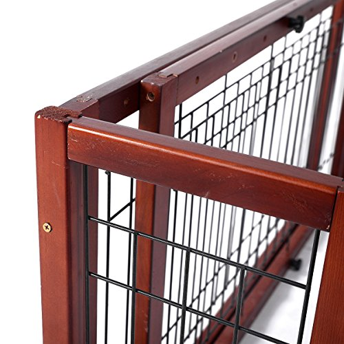 Tobbi Large Wooden Indoor Pet Dogs Fence 71-Inch Safety Gate Freestanding for Small Dogs Animals Brown by Tobbi (Image #6)