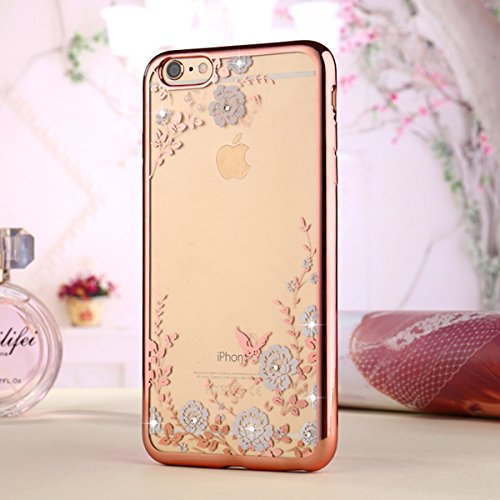 (iPhone 7 Plus Case,Inspirationc [Secret Garden] Rose Gold and White PC Plating Clear Shiny Cover Series for Apple iPhone 7 Plus 5.5 Inch--Swarovski)