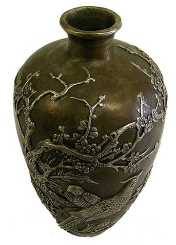 Bronze Bird/Flower Vase by T-Trove
