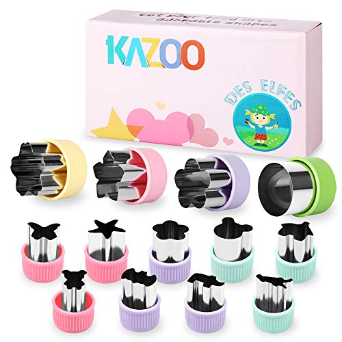 Kazoo Kids Cookie Cutters Fruit Cutters Shapes Vegetable Sandwich Cutters for Kids - Stainless Steel