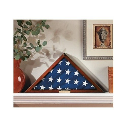 5'X9.5' Military Flag Display Case Memorial with Personalized Brass Plaque and Frame Mat