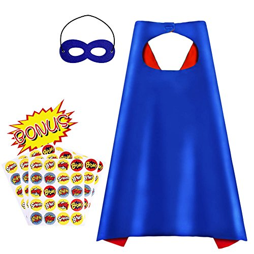 Superhero Capes, Reversible Costume with Mask & Superhero Stickers for Kids (Kid Diy Halloween Costumes)