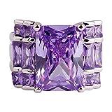 PSEZY Mystic Rainbow Topaz Amethyst rings for Women Vintage Engagement Rings Promise Rings MAE381-B381 11.0