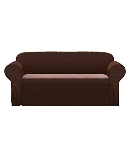 Soft Micro Suede Sofa/Couch Slipcover BROWN Color with Elastic Band Under  Seat Cushion