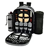 Picnic at Ascot - Deluxe Equipped 4 Person Picnic Backpack with Cooler, Insulated Wine Holder & Blanket - Houndstooth