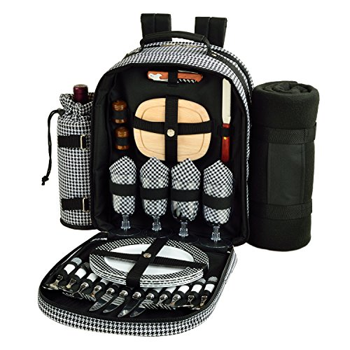Picnic at Ascot - Deluxe Equipped 4 Person Picnic Backpack with Cooler, Insulated Wine Holder & Blanket - Houndstooth by Picnic at Ascot