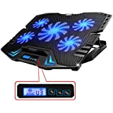TopMate C5 12-15.6 inch Gaming Laptop Cooler Cooling Pad, 5 Quite Fans and LCD Screen,2500RPM Strong Wind Designed for Gamers and Office