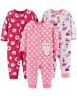 Simple Joys by Carter's Girls' Toddler 3-Pack Loose Fit Flame Resistant Fleece Footless Pajamas, Superhero/Donut/owl, 5T