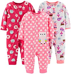 Baby and Toddler Girls 3-Pack Loose Fit Fleece Footless Pajamas