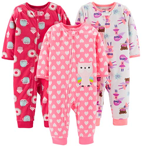 Simple Joys by Carter's Girls' 3-Pack Loose Fit Flame Resistant Fleece Footless Pajamas, Superhero/Donut/owl, 24 Months