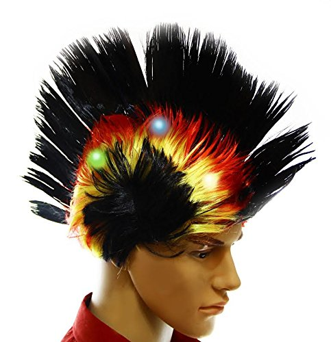 Dazzling Toys Wiggling Punk Blinking LED, Black and Colored Wig. One per pack. (Halloween Costumes With Colored Wigs)
