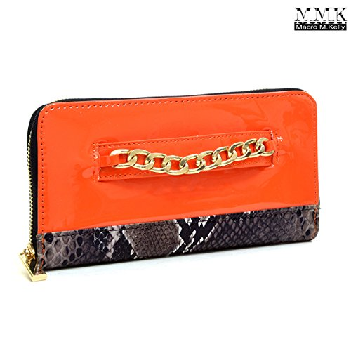 MMK Collection Gold-Tone Double Side Snake Skin Classic Cute Chain Multi-functional Easy Carry Safety PU Leather Zip Around Lady Wallet Women Purse Unisex Coin Carrier (Red) (Snakeskin Carrier)