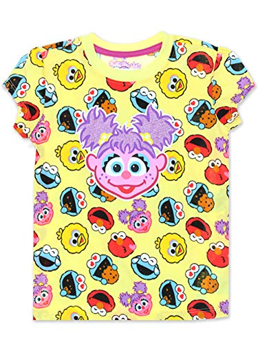 Sesame Street Abby Cadabby Toddler Baby Girls Short Sleeve Tee (3T, Yellow/Multi)