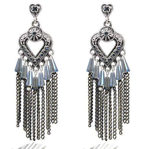Silver Party Earrings Bohemian Vintage Antique Ethnic Beads Tassel Chandelier Big Statement Dangle Drop Earring, Silver Heart ()