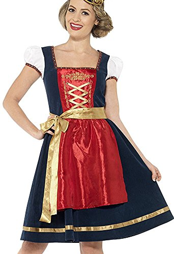 Around The World Costumes For Women (Smiffy's Women's Traditional Deluxe Claudia Bavarian Costume, Dress and Apron, Around the World, Serious Fun, Size 14-16, 45263)