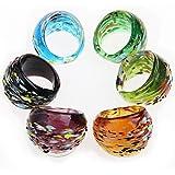 Ecloud Shop® Bague Anneau Tour de Doigt En Verre Multicolore 17-19mm