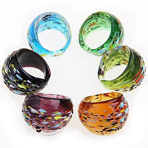 Ecloud ShopUS 6 X Mixed Lampwork Glass Finger Ring 0.7-0.75