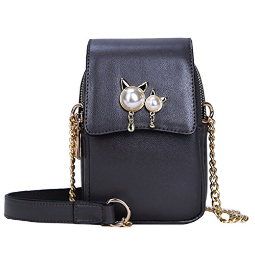 Women Classic Cross body Bag Shoulder Bag Satchel with Chain Strap Mini Handbag Clutch Bag Phone Purse Money Purse Cat hat (Classic Mini Satchel)