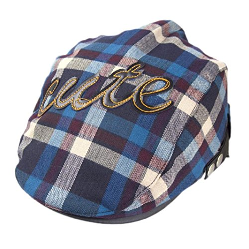 Voberry Baby Boy Kids Toddler Plaid Beret Cabbie Flat Peaked Hat River Cap (Cabbie Driver)