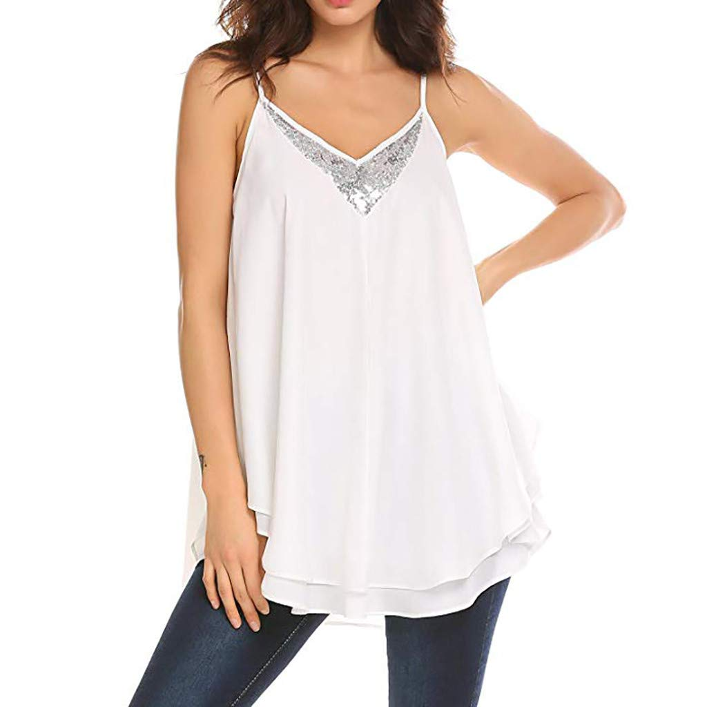 Bohelly Womens Solid Casual Sleeveless Solid Color Sequined Shirt Loose Cutout Camisole
