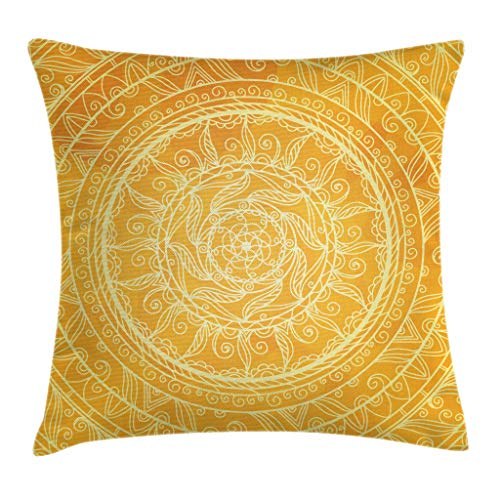 Ambesonne Yellow Mandala Throw Pillow Cushion Cover, Vintage Lace Style Authentic Circles Sun Inspired Cosmic Blossom Moroccan, Decorative Square Accent Pillow Case, 20 X 20 Inches, Yellow Orange