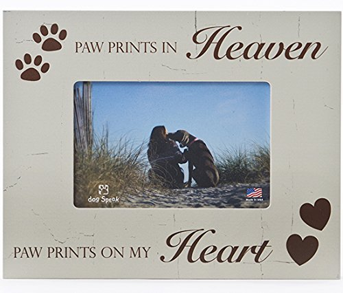 Paw Prints Photo (Paw Prints In Heaven Paw Prints On My Heart 4x6 Pet Dog Wood Picture Frame)