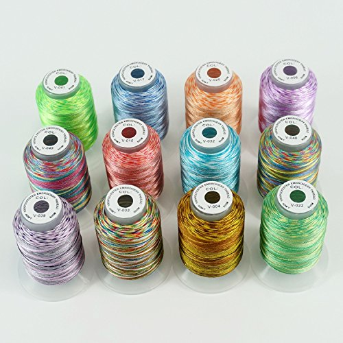 New Brothread 12 Colors Variegated Polyester Embroidery Machine Thread Kit 500M (550Y) Each Spool for Brother Janome Babylock Singer Pfaff Bernina Husqvaran Embroidery and Sewing (Polyester Thread 12 Spools)
