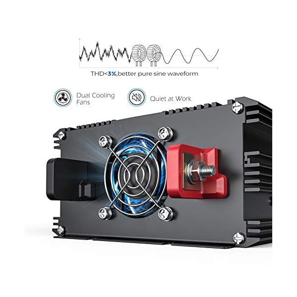 51XDSZlD7SL EDECOA Wechselrichter reiner sinus 1500w Spannungswandler 12V 230V 2x USB und Fernbedienung Spannungswandler Reiner…