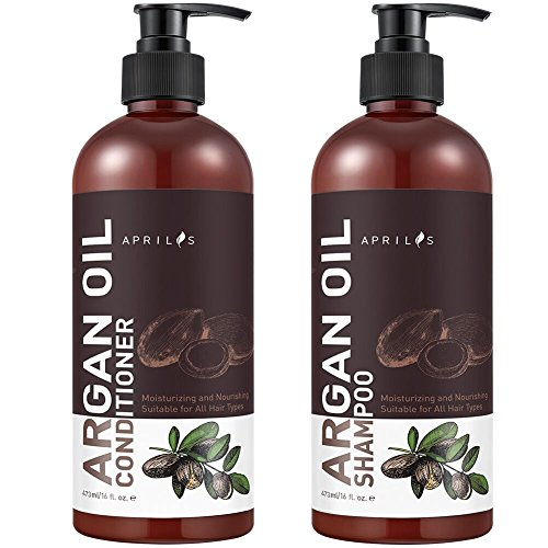 Moroccan Argan Oil Shampoo and Conditioner Set, Organic Volumizing & Moisturizing Treatment for Hair Loss, Damage, Thinning and Color Treated Hair, Hair Regrowth for Men & Women, 2 X 16 fl. oz