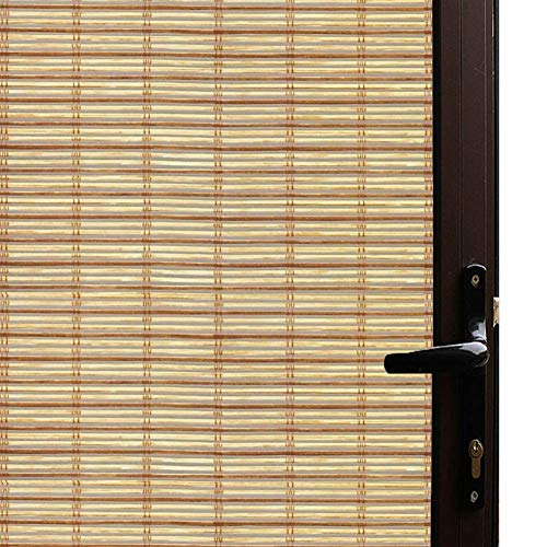 Qualsen Window Film Bamboo Static Decorative Privacy Window Films Non-Adhesive Anti Uv Window Sticker for Home Kitchen Bedroom Living Room (35.4 x 78.7inch) ()