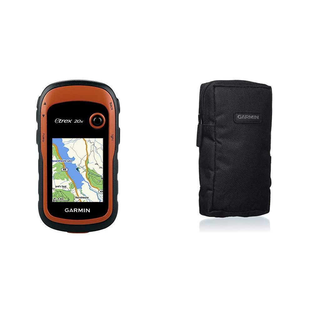Garmin eTrex 20x Outdoor Handheld GPS Unit with TopoActive Western Europe Maps,Black//Orange /& 010-10117-03 Soft Carrying Case Black