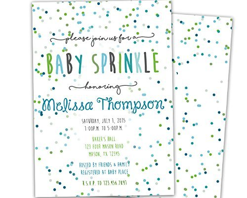 Boy Baby Sprinkle Invitations Blue Green Baby Shower -