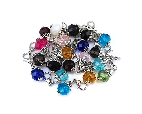 Zipper Pull Craft Charm - yueton 20pcs Assorted Color Crystal Dangle Charms Pendant with Lobster Clasp Jewelry Making Accessory Fit Floating Locket Charms Necklaces