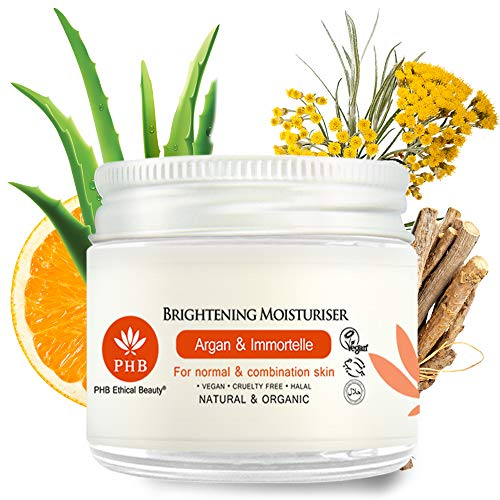 Organic Aloe Vera Brightening Moisturizing Cream for Face and Body by PHB Ethical Beauty. A Skin Lightening Cream with 100% Natural and Organic Ingredients. A Dark Spot Corrector for Face 1,7 Fl. Oz