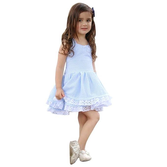 d50232bea4 MYQyiyi Bebe Niña Princesa Vestido de Rayas Casual para Verano (Azul ...