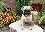 Large Adorable Pug Dog Garden Greeter Statue With Jingle Collar 11.25