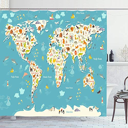 Ahawoso Shower Curtain Set with Hooks 72x72 Planet Australia Island Concept Asia Kid World Map Fun Cheerful South Baby Globe Africa Continents Bathroom Curtains Waterproof Polyester Fabric Bath Decor