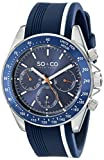 SO & CO New York Men's 5010R.1 Monticello Day and Date Tachymeter Watch with Blue Rubber Band