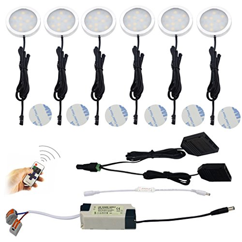 Aiboo LED Puck Light Bulbs Kit Under Cabinet With Remote Control Hardwire Power Adapter for Halogen Remplacement(6 Pack, Day white) - Halogen Direct Wire Under Cabinet